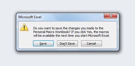 The Excel Personal Macro Workbook