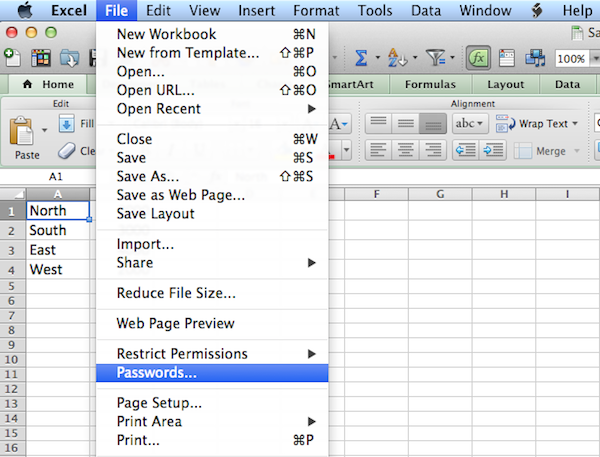 Protect an Excel 2011 File with a Password