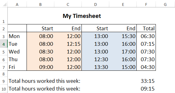 time spreadsheet in excel